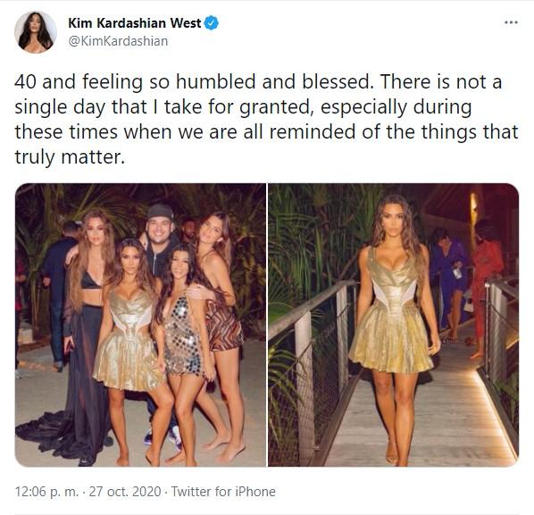 Comentario en twitter de Kim Kardashian sobre su cumpleaños #40