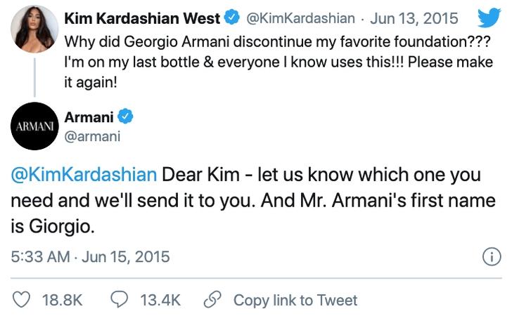Comentario en twitter de Kim Kardashian