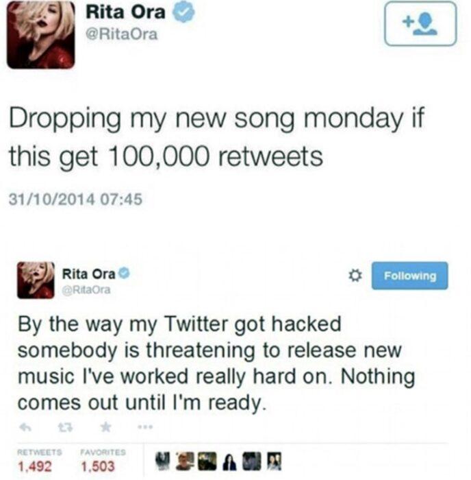 Comentario en twitter de Rita Ora
