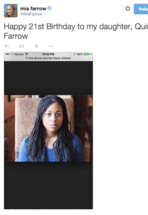 Comentario en twitter de Mia Farrow