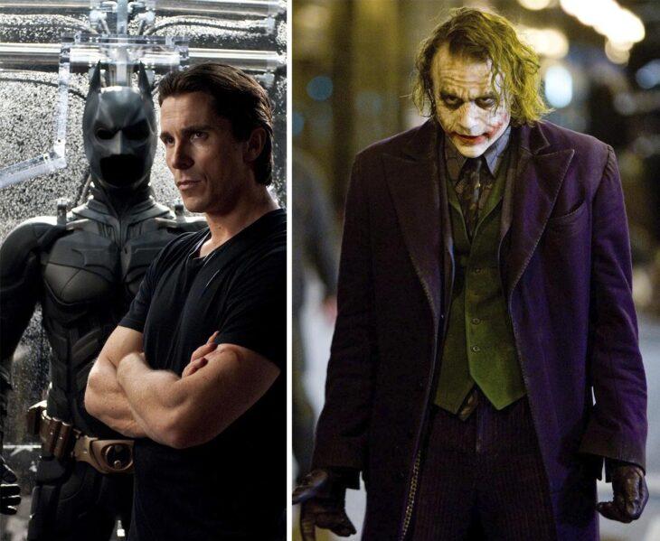 Del lado izquierdo Bruce Wayne, del lado derecho el Guasón
