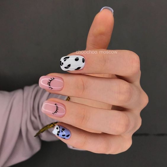 Pink manicure with closed eyes effect; Ideas for aesthetic manicure