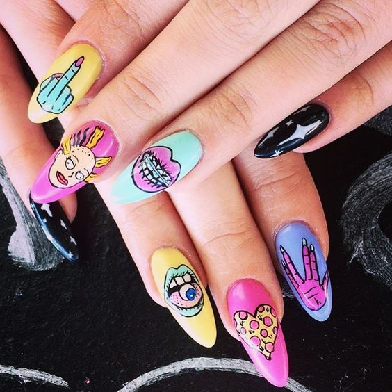Manicure with brightly colored backgrounds and stickers of cartoons from the 90s; Ideas for aesthetic manicure