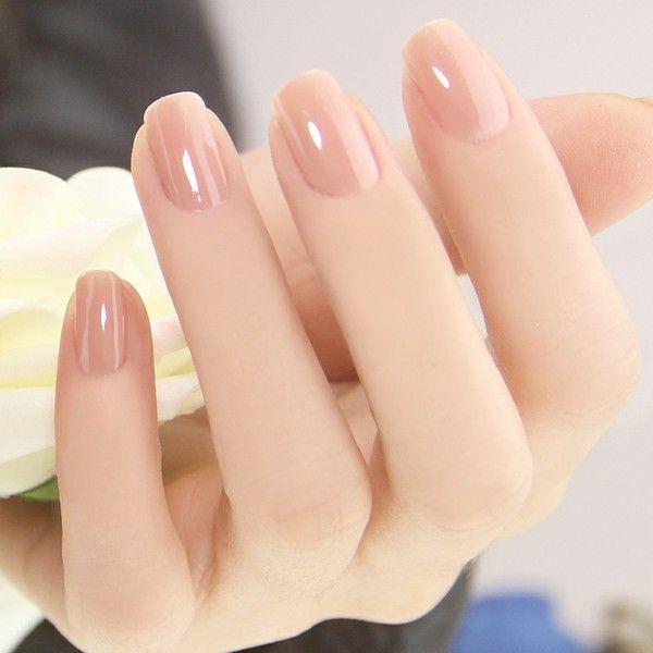 Manicure in nude tone with gloss effect; Ideas for nude manicure