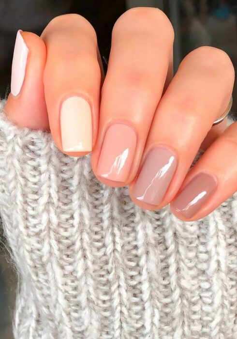 Manicure in various nude shades with a gradient effect; Ideas for nude manicure