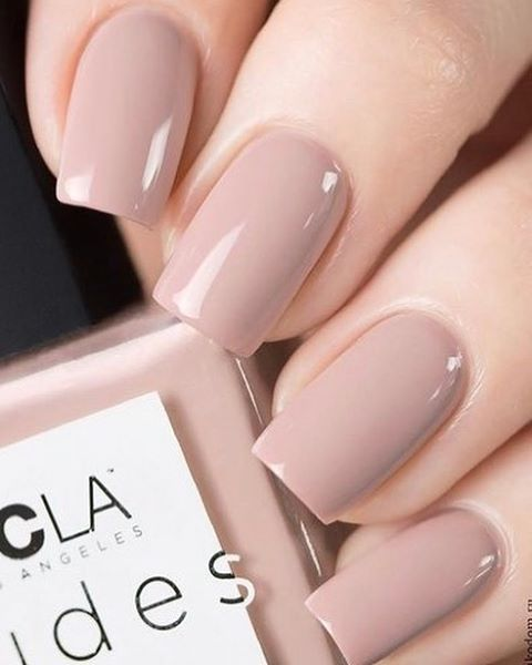 Short manicure in pink tone with nude effect; Ideas for nude manicure