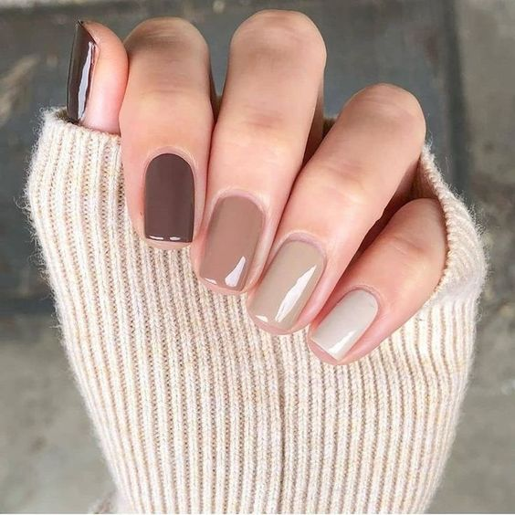 Manicure in a range of nude brown tones; Ideas for nude manicure