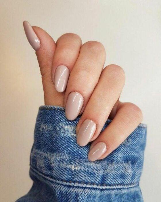 Manicure in nude chocolate tone; Ideas for nude manicure