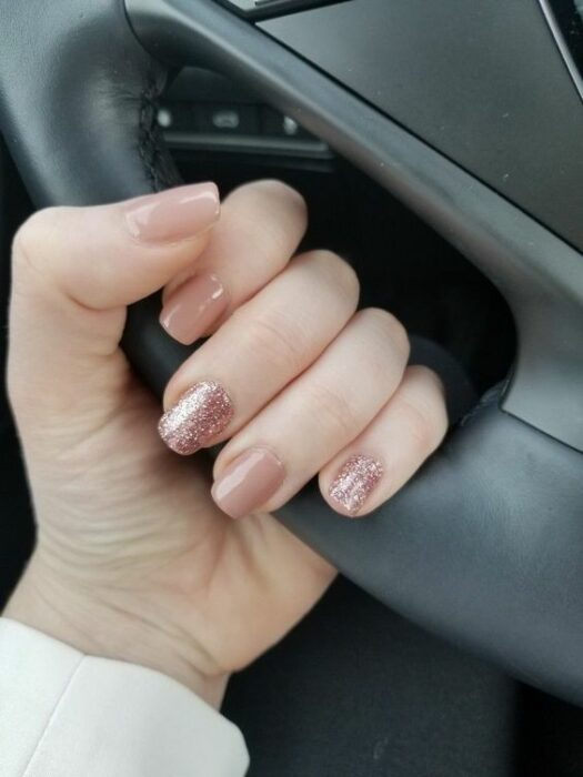 Nude manicure with pink and glitter touches; Ideas for nude manicure