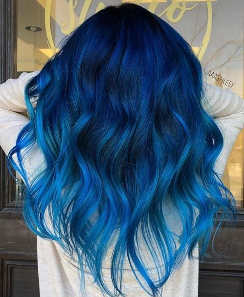 Balayage in blue tones on long hair