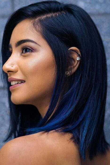 girl in profile showing her royal blue hair