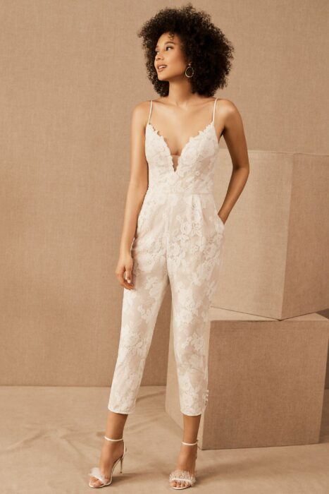 Girl wearing a jumpsuit with lace