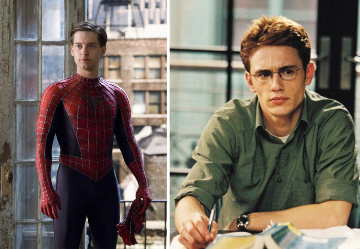 Del lado izquierdo el Hombre Arana, del lado derecho Harry Osborn