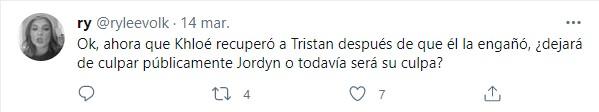 Comentarios en Twitter sobre la relación de Tristan y Khloe