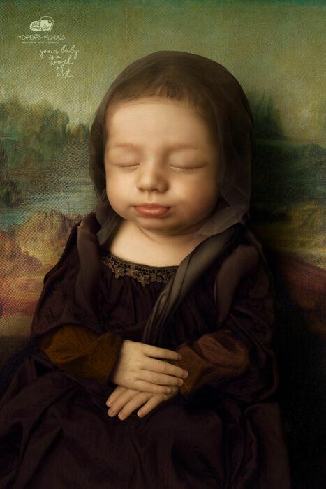 Leticia vestida como la Mona Lisa