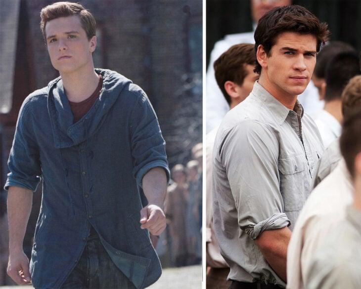 Del lado izquierdo Peeta de 'Los juegos del hambre', del lado derecho Gale de 'Los juegos del hambre'