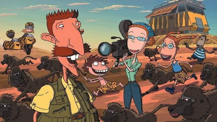 Escena del programa de Nickelodeon; Los Thornberrys paseando en la jungla