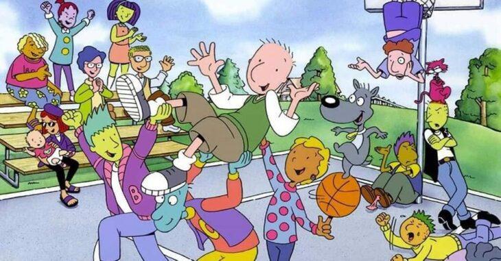 Escena del programa de Nickelodeon; Doug, todos los personajes jugando basquetbol