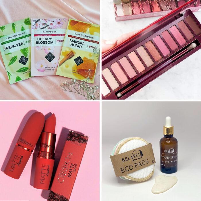 Collage de artículos de skin care y maquillaje