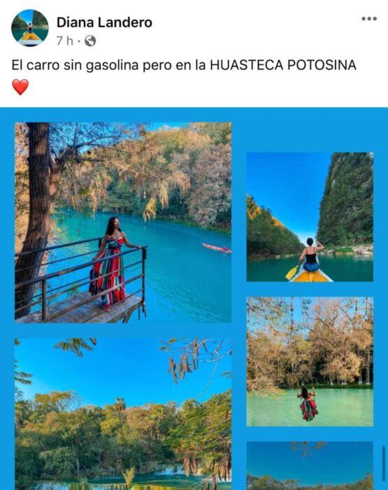 Chica paseando en la Huasteca Potosina; Mexicanos están compartiendo fotos de sus viajes con ingeniosas rimas