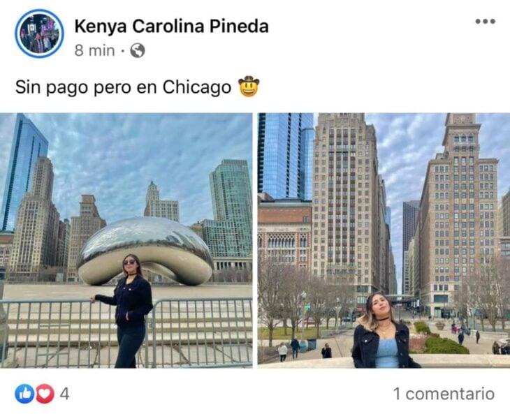 Chica posando en los edificios de Chicago; Mexicanos están compartiendo fotos de sus viajes con ingeniosas rimas