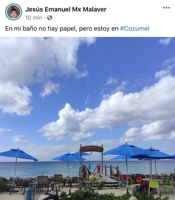 Chica de viaje en cozumel; Mexicanos están compartiendo fotos de sus viajes con ingeniosas rimas