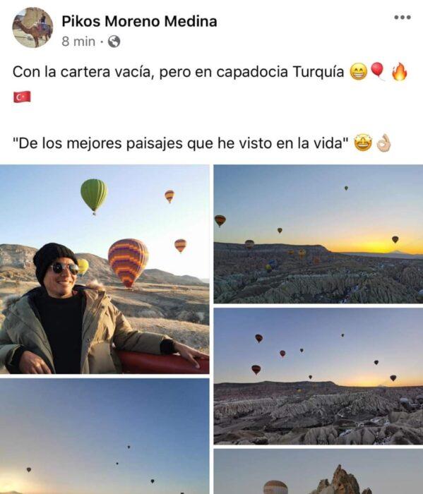 Chico dentro de un globo aerostático; Mexicanos están compartiendo fotos de sus viajes con ingeniosas rimas