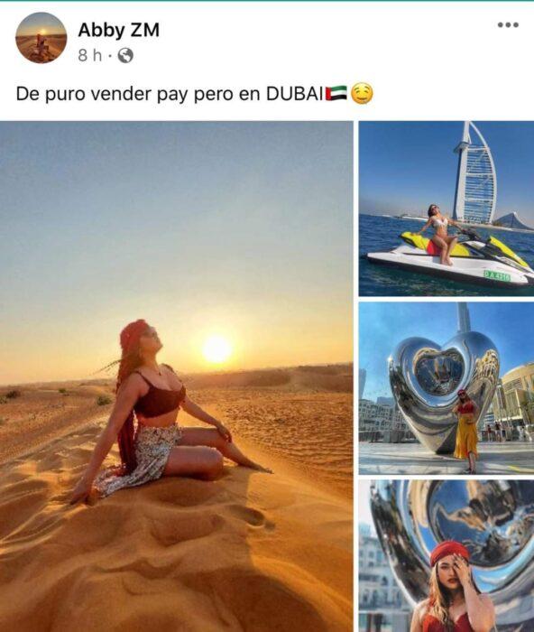 Chica sentada sobre la arena en Dubai; Mexicanos están compartiendo fotos de sus viajes con ingeniosas rimas