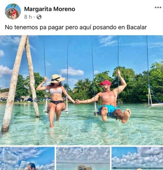 Pareja de novios paseando en la playa tomados de la mano; Mexicanos están compartiendo fotos de sus viajes con ingeniosas rimas