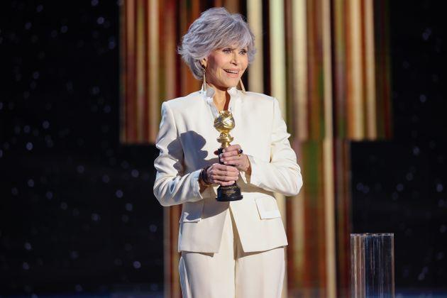Jane Fonda aceptando su premio en los Globos de Oro y dando un emotivo discurso