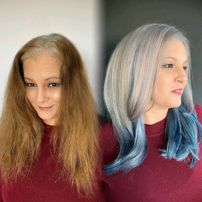 Girl showing the before and after change in her hair color by one in blonde and blue tone