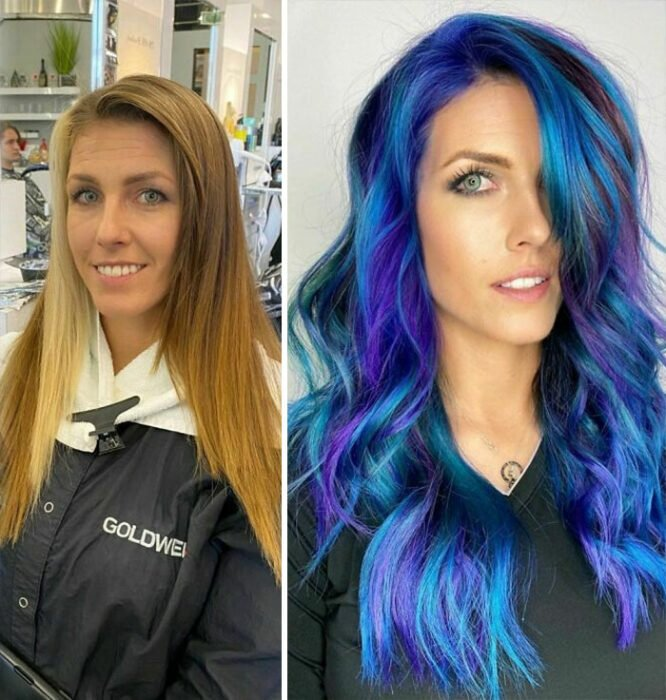 Girl showing the before and after change in her hair color by one in blue and purple tones
