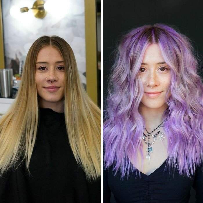 Girl showing the before and after change in her hair color by one in purple tones with platinum