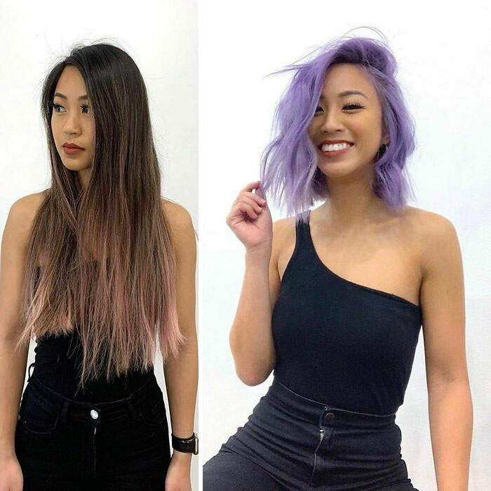 Girl showing the before and after change in her hair color by one in purple and blonde tone