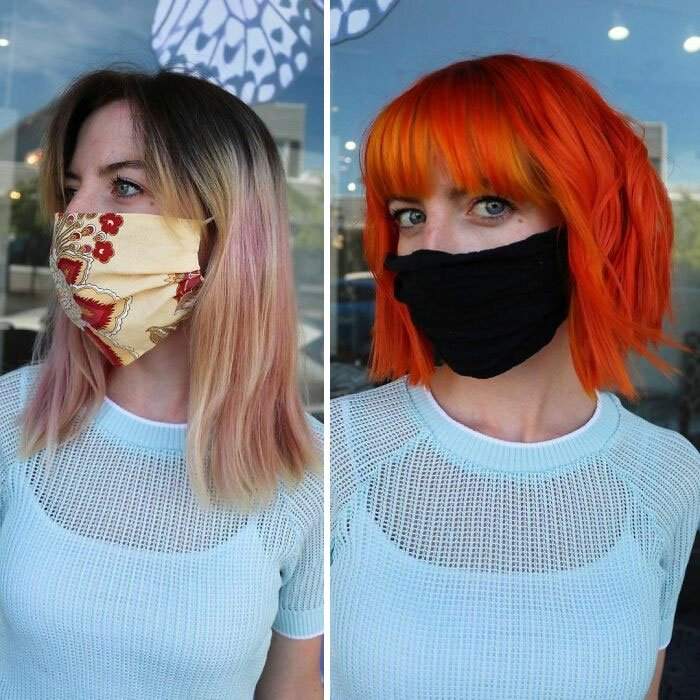 Girl showing the before and after change in her hair color by one in orange tones