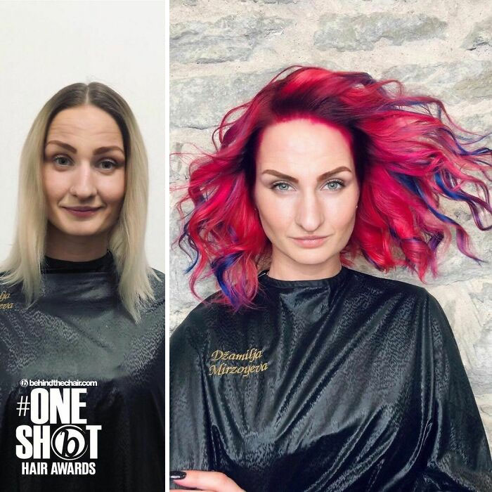Girl showing the before and after change in her hair color by one in shades of red with black and blue