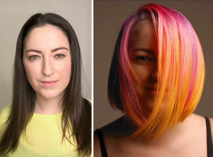 Girl showing the before and after change in her hair color by one in fancy tones like a sunset