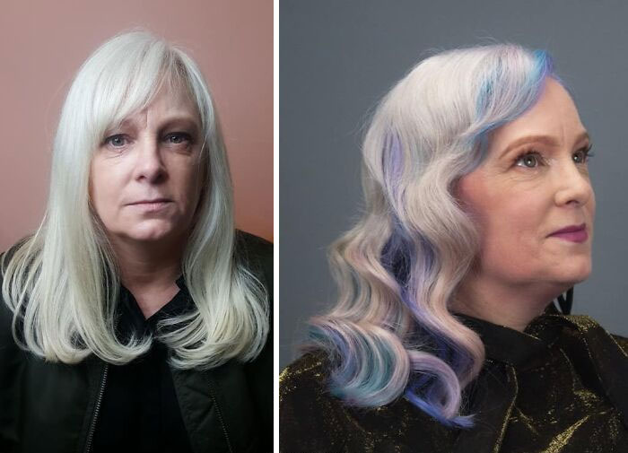 Girl showing the before and after change in her hair color by one in shades of blue with purple and pink