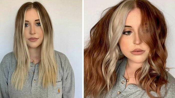 Girl showing the before and after the change in her hair color by one in gold and red tones