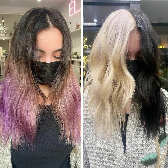 Girl showing the before and after change in her hair color by one in shades of blonde and black
