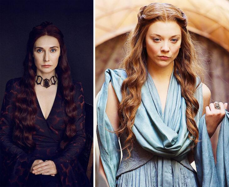 Del lado izquierdo Melisandre de 'Juego de tronos', del lado derecho Margaery Tyrell de 'Juego de tronos'