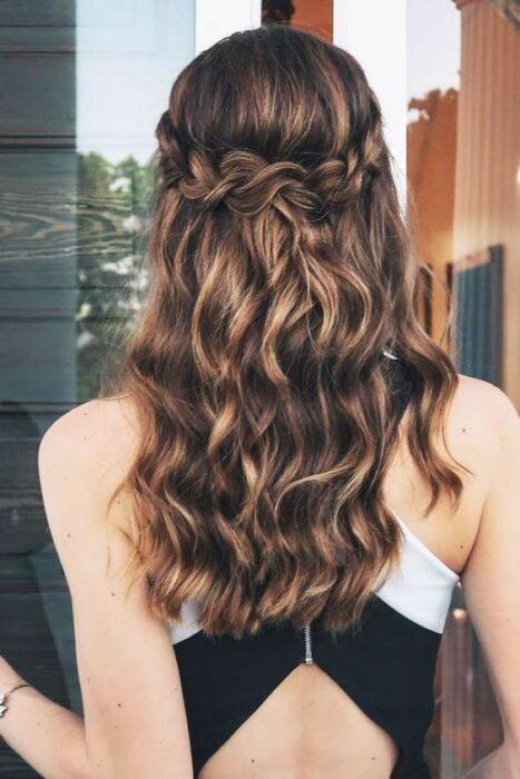 Short wavy hair girl with braid crown