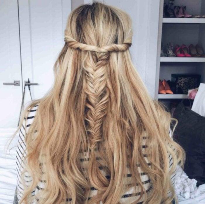 Long blonde hair girl with twist and herringbone braid
