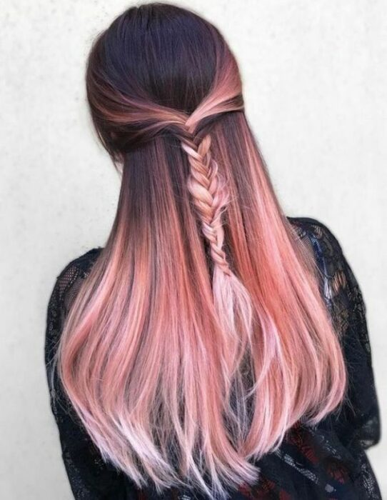 Black hair girl with pink with braid
