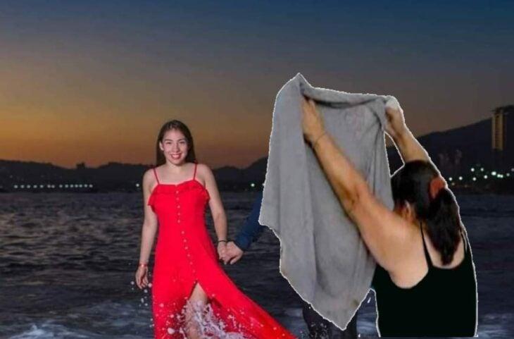 Edición de una mujer cubriendo a una persona en la foto de una pareja que camina por la playa