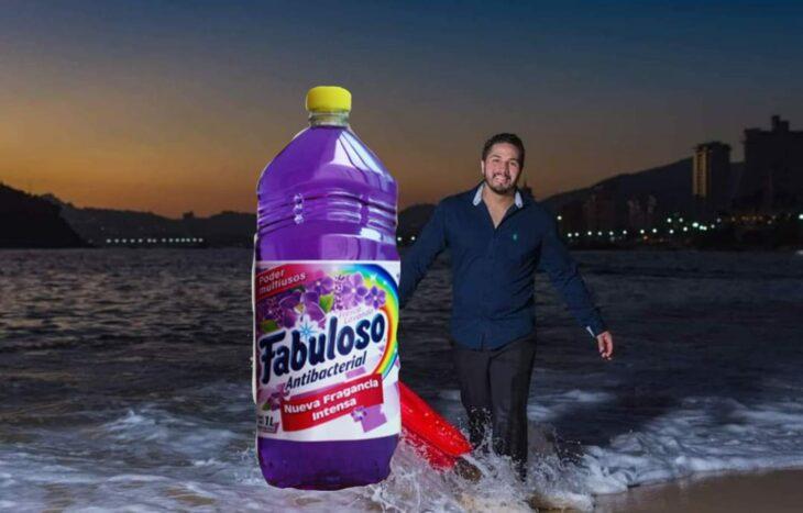 Edición de un limpiador de lavanda en la foto de una pareja que camina por la playa