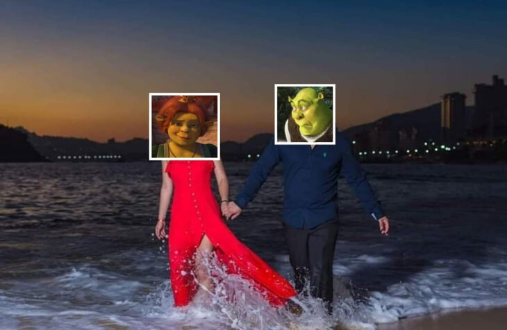 Edición de foto de una chica que va caminando por la playa con su novio