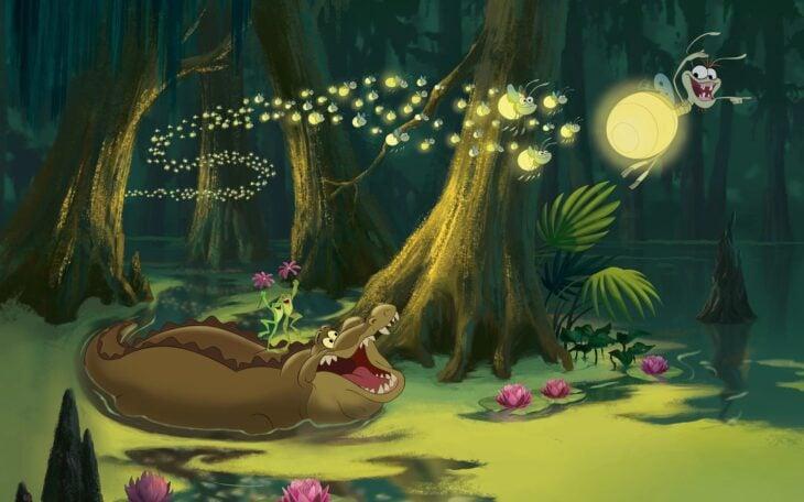 Loui y ray de la princesa y el sapo cantando