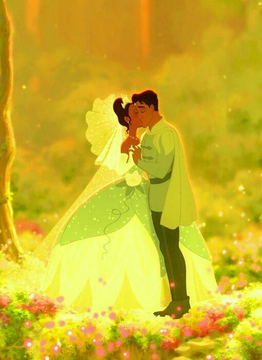 Tiana de la princesa y el sapo el día de su boda con naveen