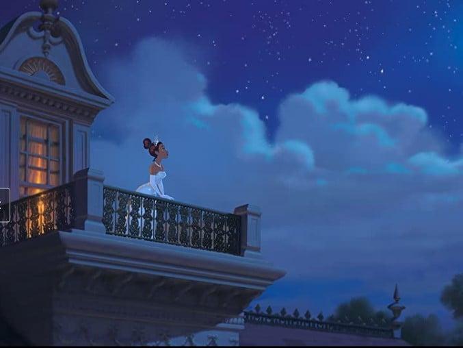 Tiana de la princesa y el sapo viendo las estrellas mientras usa un vestido de princesa